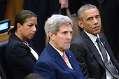 (L-R) Susan E. Rice, United States National Security Advisor, John Kerry, US Secretary of State and US President Barack Obama sit together before the President Obama gives remarks on the Ebola epidemic at the United Nations in New York, NY, on September 25, 2014.<br /> Credit: Anthony Behar / Pool via CNP