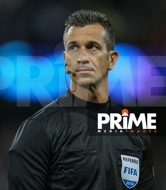 Referee Mr Daniele Orsato (ITA) during the UEFA Champions League match between Manchester City and Olympique Lyonnais at the Etihad Stadium, Manchester, England on 19 September 2018. Photo by David Horn / PRiME Media Images.