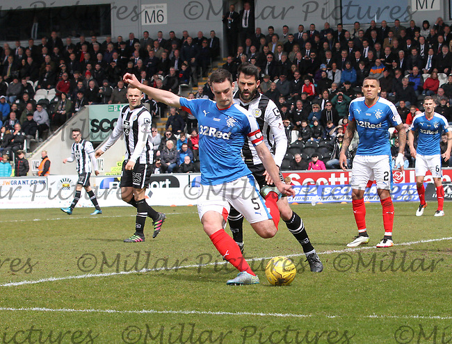 Lee Wallace clears in the St Mirren v Rangers Scottish Professional Football League Ladbrokes Championship match played at the Paisley 2021 Stadium, Paisley on 1.5.16.
