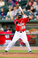 Jesmuel Valentin (22) of the Great Lakes Loons at bat against the Wisconsin Timber Rattlers at the Dow Diamond on May 4, 2013 in Midland, Michigan.  The Timber Rattlers defeated the Loons 6-4.  (Brian Westerholt/Four Seam Images)