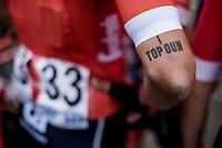 Eugenio Alafaci (ITA/Trek Segafredo) tattoo<br /> <br /> 103th Kampioenschap van Vlaanderen 2018 (UCI 1.1)<br /> Koolskamp &ndash; Koolskamp (186km)