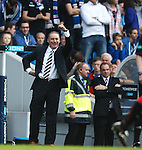 Ally mcCoist does a dance and tells Jon Daly to grab the match ball after scoring his hat-trick