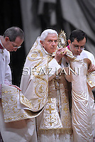 Pope Benedict XVI  celebrates the Vespers and Te Deum prayers in Saint Peter's Basilica at the Vatican on December 31, 2010