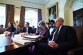 White House Chief of Staff John Kelly (R) attends a cabinet meeting with United States President Donald J. Trump, at the White House on November 20, 2017 in Washington, D.C. President Trump officially designated North Korea as a state sponsor of terrorism. <br /> Credit: Kevin Dietsch / Pool via CNP