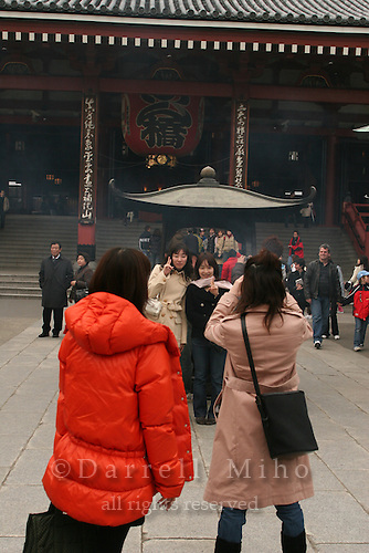 Mar 6, 2006; Tokyo, JPN; Asakusa.Visitor's take pictures in front of the Senso-ji temple...Photo credit: Darrell Miho