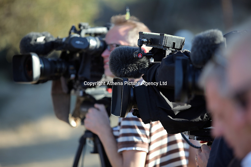 Pictured: TV crews at the second site in Kos, Greece. Saturday 15 October 2016<br /> Re: Police teams led by South Yorkshire Police are searching for missing toddler Ben Needham on the Greek island of Kos.<br /> Ben, from Sheffield, was 21 months old when he disappeared on 24 July 1991 during a family holiday.<br /> Digging has begun at a new site after a fresh line of inquiry suggested he could have been crushed by a digger.