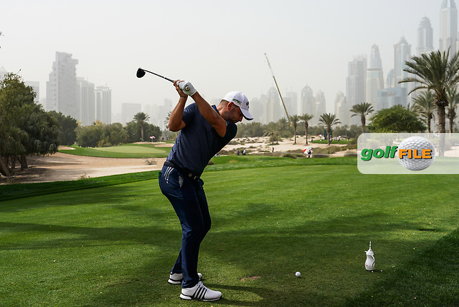 Jordan Smith (ENG) in action on the 14th tee during the first round of the Omega Dubai Desert Classic, Emirates Golf Club, Dubai, UAE. 24/01/2019<br /> Picture: Golffile | Phil Inglis<br /> <br /> <br /> All photo usage must carry mandatory copyright credit (© Golffile | Phil Inglis)