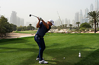 Jordan Smith (ENG) in action on the 14th tee during the first round of the Omega Dubai Desert Classic, Emirates Golf Club, Dubai, UAE. 24/01/2019<br /> Picture: Golffile | Phil Inglis<br /> <br /> <br /> All photo usage must carry mandatory copyright credit (&copy; Golffile | Phil Inglis)