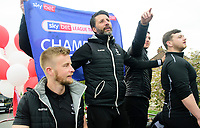 Lincoln City manager Danny Cowley, centre, with Mike Hine, left, waves to fans during the Open Top Bus Parade through Lincoln<br /> <br /> Photographer Chris Vaughan/CameraSport<br /> <br /> The EFL Sky Bet League Two - Lincoln City - Champions Parade - Sunday 5th May 2019 - Lincoln<br /> <br /> World Copyright © 2019 CameraSport. All rights reserved. 43 Linden Ave. Countesthorpe. Leicester. England. LE8 5PG - Tel: +44 (0) 116 277 4147 - admin@camerasport.com - www.camerasport.com