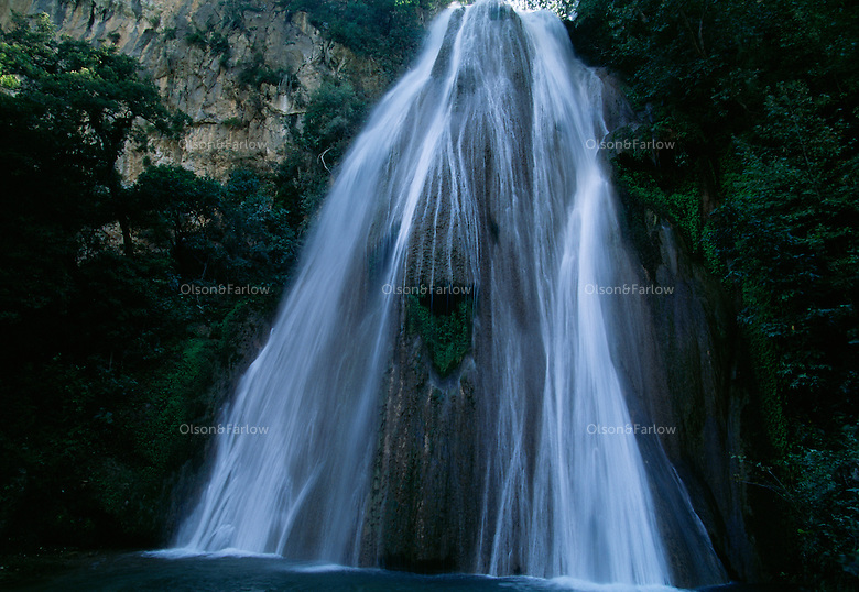 Cascada Cola de Caballo, Horsetail Falls, makes a dramatic 75 foot drop through Cumbres de Monterrey in Las Cumbres National Park in Mexico.