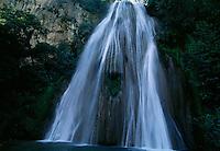 Cascada Cola de Caballo, Horsetail Falls, makes a dramatic 75 foot drop through Cumbres de Monterrey in Las Cumbres National Park in Mexico.