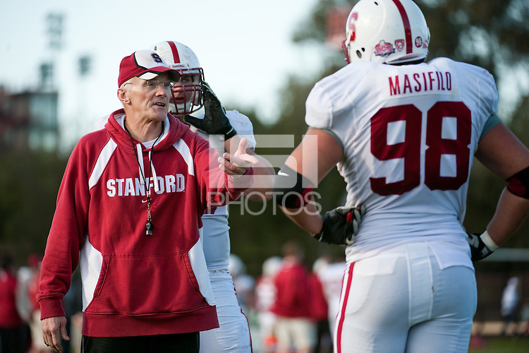 STANFORD, CA - FEBRUARY 27, 2011: Coach Randy Hart, Spring practice on the football practice fields, February 27, 2011 in Stanford, California.