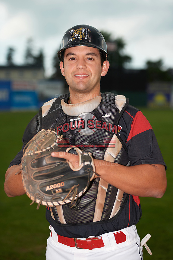 Batavia Muckdogs catcher Michael Hernandez (4) poses for a photo before a game against the Williamsport Crosscutters on August 3, 2017 at Dwyer Stadium in Batavia, New York.  Williamsport defeated Batavia 2-1.  (Mike Janes/Four Seam Images)