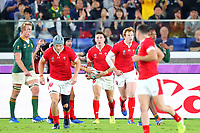27th October 2019, Oita, Japan;  Josh Adams (WAL) and team mates run back to the centre line after scoring a try; 2019 Rugby World Cup Semi-final match between Wales 16-19 South Africa at International Stadium Yokohama in Yokohama, Kanagawa, Japan.