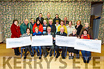 The Mid Kerry Vintage Rally presents cheques to 4 charities on Monday night in the Community Centre in Castlemaine. <br />  L to r: Theresa Walsh (Oncology €3,500), Maureen O'Brien (Recovery Haven €3,500), Denis Tagney and Michael McKenna )Mid Kerry Vintage Rally), Sr Helena (St Joseph Home €2,000) and Marie O'Sullivan (Castlemaine Community Services €1,000).