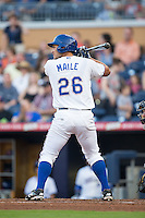 Luke Maile (26) of the Durham Bulls at bat against the Scranton/Wilkes-Barre RailRiders at Durham Bulls Athletic Park on May 15, 2015 in Durham, North Carolina.  The RailRiders defeated the Bulls 8-4 in 11 innings.  (Brian Westerholt/Four Seam Images)