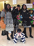 Shulammite Awotundon, Hannah Olabiyi and Nathalie Lukumu caught the Scoundrel at the 10th birthday celebrations in Scotch hall shopping centre. Photo:Colin Bell/pressphotos.ie
