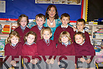 Sarah O'Sullivan, Ella Courtney, Brianne O'Sullivan, Shonagh Fitzpatrick, Jessica O'Neill, Mia Flaherty, Andrew Walsh, Cillian O'Shea and Evan O'Shea pictured with teacher Yvonne O'Sullivan during their first days at St Finians National School in Waterville.   Copyright Kerry's Eye 2008