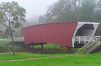 Madison County, Iowa:<br /> Cedar Covered Bridge (1883) near Winterset, in fog
