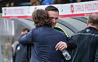 Wycombe Wanderers Manager Gareth Ainsworth welcomes Player Manager Kevin Nolan during the Sky Bet League 2 match between Wycombe Wanderers and Leyton Orient at Adams Park, High Wycombe, England on 23 January 2016. Photo by Claudia Nako / PRiME Media Images.