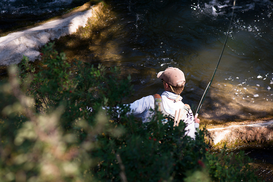 An angler sets his hook on Big Sheep Creek near Dillon, Montana.