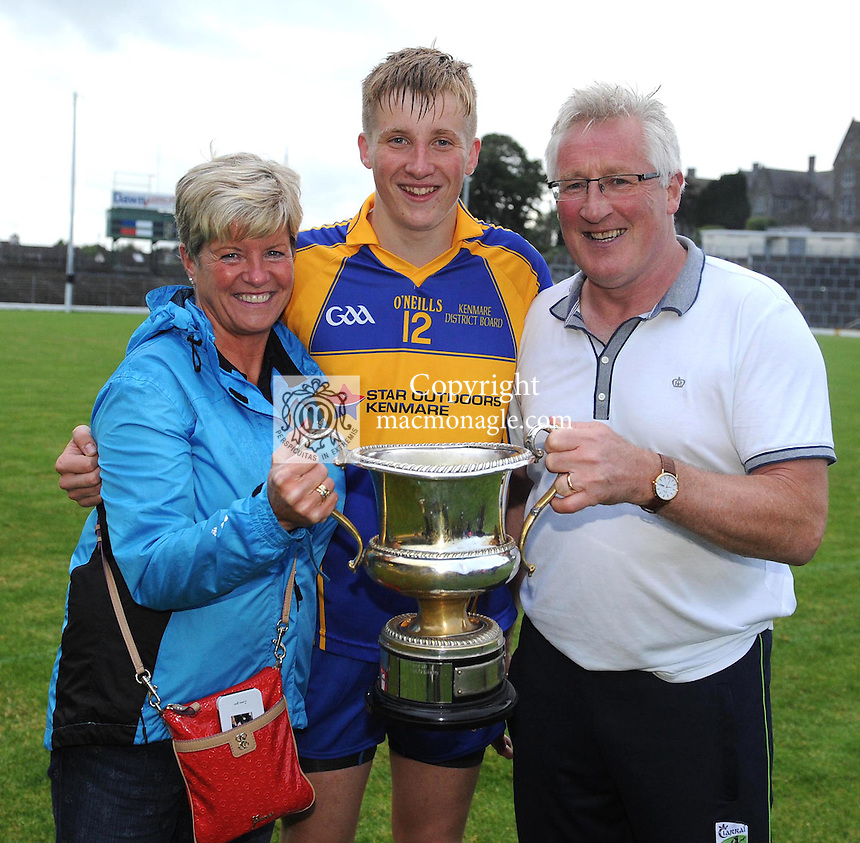 13-08-2014 : Rosarii Spillane with her husband and son, Pat Spillane senior, manager of the Kenmare District  team and  son Pat Spillane junior after winning the  Kerry U-21 football Championship final at Fitzgerald Stadium, Killarney,  on Wednesday night. Picture: Eamonn Keogh (MacMonagle, Killarney)