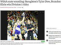 Stoughton's Brandon Klein wins the Division 1, 132-pound championship during the WIAA state individual wrestling tournament on Saturday, 2/25/17, at the Kohl Center in Madison, Wisconsin | Wisconsin State Journal article in Sports 2/26/17 and online at http://host.madison.com/wsj/sports/high-school/wrestling/wiaa-state-wrestling-stoughton-s-tyler-dow-brandon-klein-win/article_1265bb36-d2e3-521c-aeaf-4c41b26c20ba.html