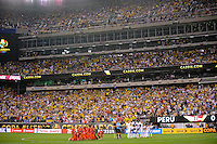 East Rutherford, NJ - Friday June 17, 2016: Peru , Colombia  after a Copa America Centenario quarterfinal match between Peru (PER) vs Colombia (COL) at MetLife Stadium.