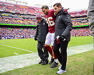 Landover, MD - December 9, 2018: Washington Redskins tight end Jordan Reed (86) is helped off the field with an ankle injury during game between the New York Giants and Washington Redskins at FedEx Field in Landover, MD. The Giants defeated the Redskins 40-16 dropping the Redskins to 6-7 on the season. (Photo by Phillip Peters/Media Images International)