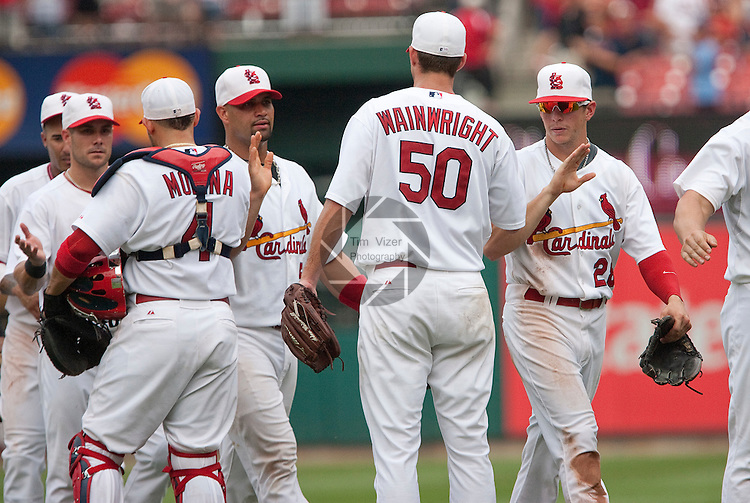 July 4, 2010          Players congratulate each other after the St. Louis Cardinals defeated the Milwaukee Brewers 7-1 in the final game of a four-game homestand at Busch Stadium in downtown St. Louis, MO on Sunday July 4, 2010.