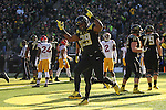 Nov 21, 2015; Eugene, OR, USA; Oregon Ducks running back Kani Benoit (29) celebrates after making a touchdown reception against the USC Trojans at Autzen Stadium. <br /> Photo by Jaime Valdez