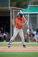 GCL Astros Jose Mendoza (13) at bat during a Gulf Coast League game against the GCL Marlins on August 8, 2019 at the Roger Dean Chevrolet Stadium Complex in Jupiter, Florida.  GCL Marlins defeated GCL Astros 5-4.  (Mike Janes/Four Seam Images)