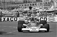 MONTE CARLO, MONACO - MAY 30: James Hunt of Great Britain drives his McLaren M23 8-2/Ford Cosworth during the Grand Prix of Monaco FIA Formula 1 race at the Circuit de Monaco temporary street circuit in Monte Carlo, Monaco on May 30, 1976.