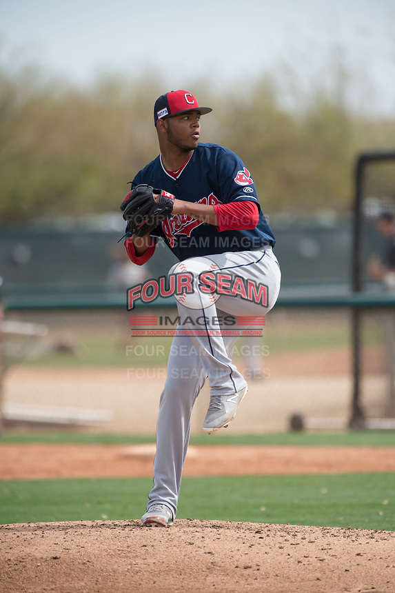 Cleveland Indians relief pitcher Luis Oviedo (53) during a Minor League Spring Training game against the Chicago White Sox at Camelback Ranch on March 16, 2018 in Glendale, Arizona. (Zachary Lucy/Four Seam Images)