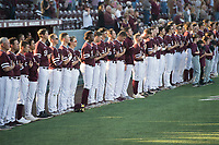 Super Bulldog Weekend: Baseball vs Arkansas at Dudy Noble Field.  Baseball team during the National Anthem.<br />  (photo by Megan Bean / &copy; Mississippi State University)