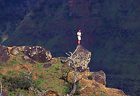 Man standing on a rock in Waimea Canyon