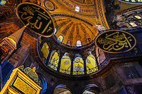 Fine Art Travel Photograph of the golden interior of the Hagia, Sophia mosque in Istanbul, Turkey.