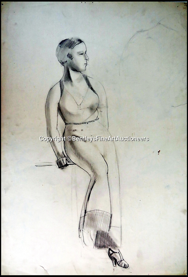BNPS.co.uk (01202) 558833Pic: BentleysFineArtAuctioneers/BNPS<br /> <br /> Study of a female.<br /> <br /> Newly discovered collection reveals that LS Lowry painted a lot more than just matchstick men and matchstick cats and dogs...<br /> <br /> The never-seen-before collection of drawings by the famous Lancashire artist are a far cry from his iconic matchstick figures and have been snapped up by avid collectors for almost £90,000.<br /> <br /> The mostly nude studies show a different side of the Salford artist, whose urban scenes often sell for millions of pounds, and demonstrate that despite being dubbed a 'naive Sunday painter' he had considerable talent for drawing people.<br /> <br /> The 19 pictures are mostly signed and dated to 1911 to 1919, when Lowry was studying art in his spare time before he developed his signature style.<br /> <br /> The seller, who wants to remain anonymous, inherited the portfolio from their grandfather and did not believe they could be Lowry when they saw the signature.