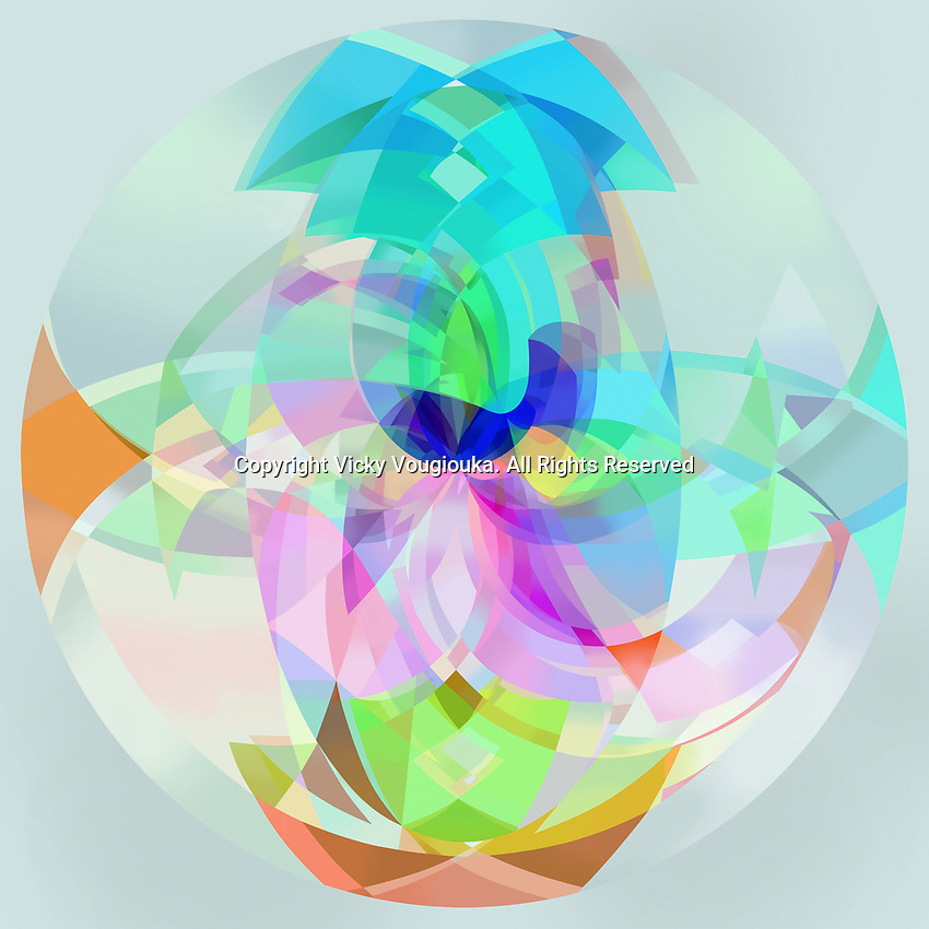 Abstract multicolored translucent sphere