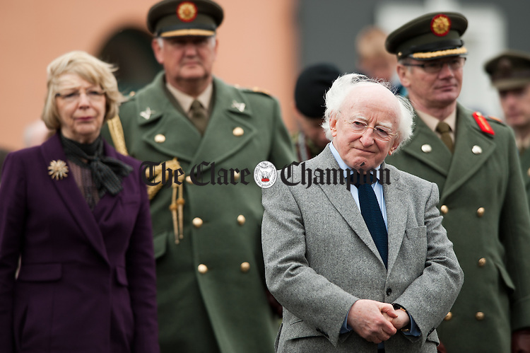 President Michael D. Higgins and his wife Sabena during a minutes silence for famine dead during the National Famine Memorial Day Commemoration ceremony at Kilrush. Photograph by John Kelly
