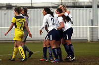 Ryah Vyse of Tottenham Ladies celebrates scoring the second Spurs goal during Tottenham Hotspur Ladies vs Oxford United Women, FA Women's Super League FA WSL2 Football at Theobalds Lane on 11th February 2018