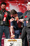 (L to R) Actors Karl Urban, Nathan Fillion and Michael Rooker, hit the top led of the sake barrel for good luck during the opening ceremony for the Tokyo Comic Con 2017 at Makuhari Messe International Exhibition Hall on December 1, 2017, Tokyo, Japan. This is the second year that San Diego Comic-Con International held the event in Japan. Tokyo Comic Con runs from December 1 to 3. (Photo by Rodrigo Reyes Marin/AFLO)