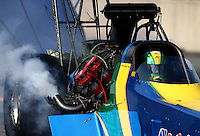 Oct 5, 2013; Mohnton, PA, USA; NHRA top fuel dragster driver Sidnei Frigo during qualifying for the Auto Plus Nationals at Maple Grove Raceway. Mandatory Credit: Mark J. Rebilas-