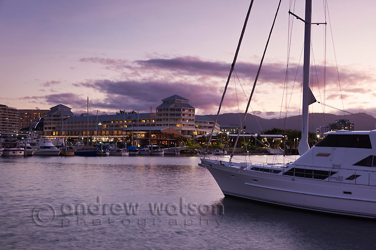 Yachts in the marina with Shangri-La Hotel at the Pier in background.  Cairns, Queensland, Australia