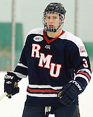 Tyler Hinds (RMU - 3) - The Bentley University Falcons defeated the visiting Robert Morris University Colonials 2-1 on Friday, January 6, 2012, at the John A. Ryan Skating Arena in Watertown, Massachusetts.