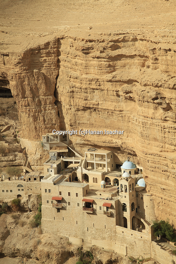 Judean Desert, Greek Orthodox St. George Monastery on the slope of Wadi Qelt