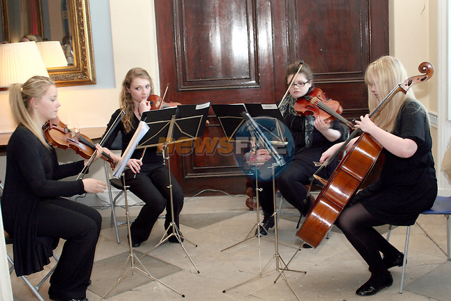 Alexandra College String Quartet at the Fashion Show in Slane Castle in aid of Stackallen Tennis and Pitch and Putt Club and supporting Action Breast Cancer...Photo NEWSFILE/Jenny Matthews.(Photo credit should read Jenny Matthews/NEWSFILE)....This Picture has been sent you under the condtions enclosed by:.Newsfile Ltd..The Studio,.Millmount Abbey,.Drogheda,.Co Meath..Ireland..Tel: +353(0)41-9871240.Fax: +353(0)41-9871260.GSM: +353(0)86-2500958.email: pictures@newsfile.ie.www.newsfile.ie.FTP: 193.120.102.198.