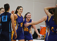 Otago Te Paea Selby-Rickit and Gina Crampton celebrate winning  the Lion Foundation Netball Championship final match, day five, MoreFM Arena, Dunedin, New Zealand, Friday, October 04, 2013. Credit: Dianne Manson/©MBPHOTO /Michael Bradley Photography.