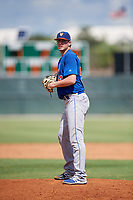 GCL Mets starting pitcher Max Kuhns (54) gets ready to deliver a pitch during a game against the GCL Cardinals on August 6, 2018 at Roger Dean Chevrolet Stadium in Jupiter, Florida.  GCL Cardinals defeated GCL Mets 6-3.  (Mike Janes/Four Seam Images)