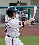 Reno Aces Cole Gillespie crushs a 3 run home run to right field in the frist inning agianst the Colorado Sky Sox during their game on Tuesday night July 24, 2012 at Aces Ballpark in Reno NV.